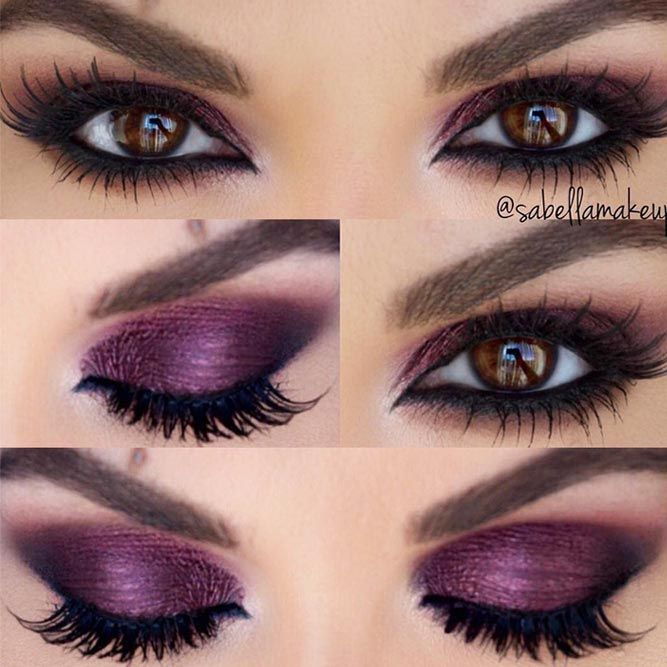 24 purple smokey eye makeup ideas to open the party season for Rosa augen