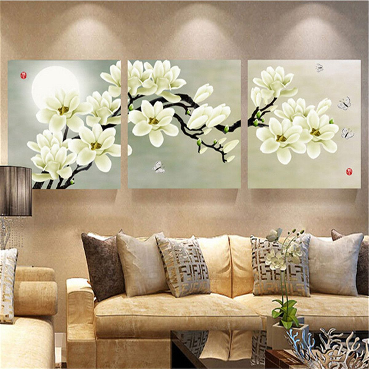 3Pcs White Orchid Combination Painting On Canvas Frameless Drawing ...