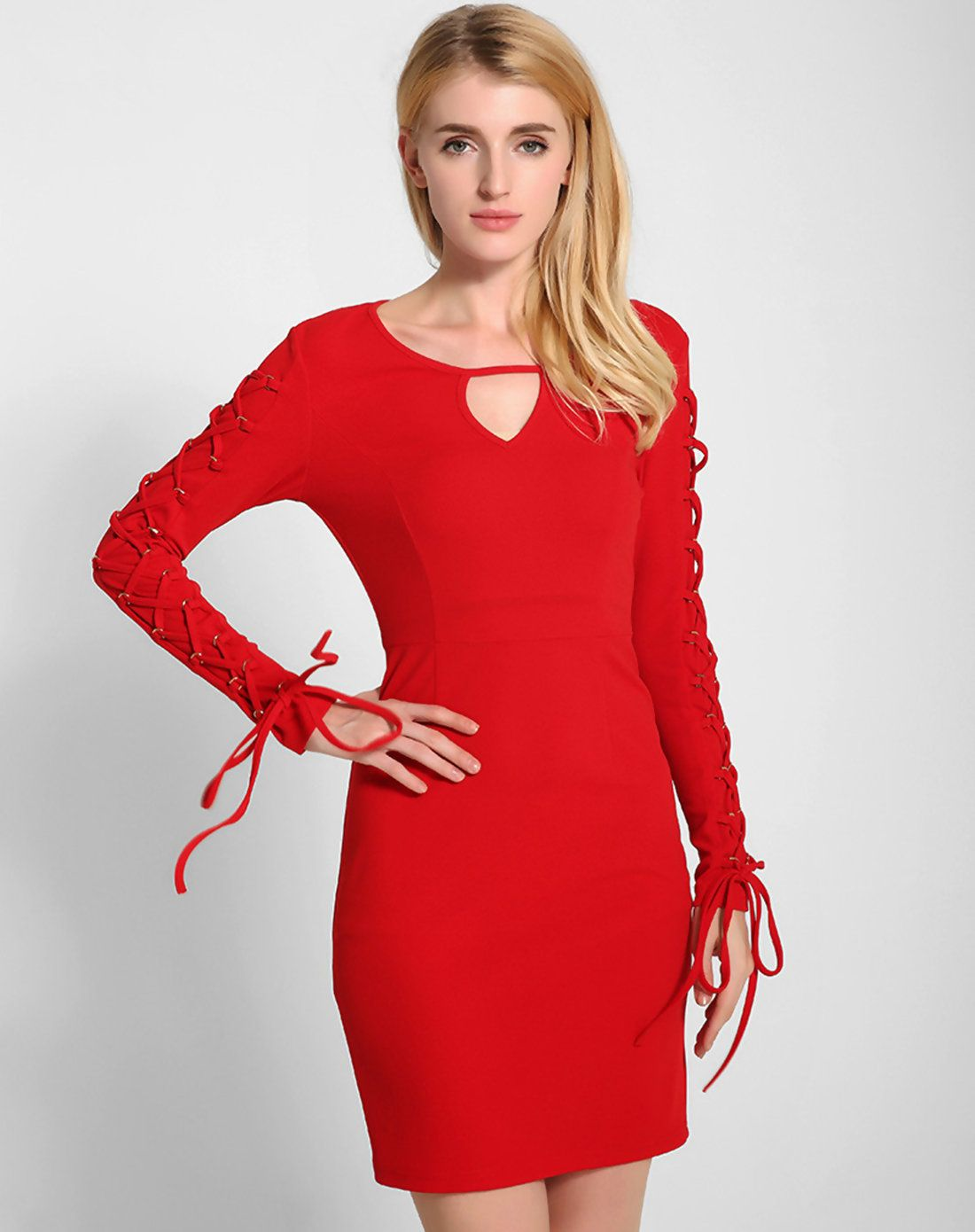 Adorewe vipme sweater dresses lztlylzt red v neck sexy bodycon
