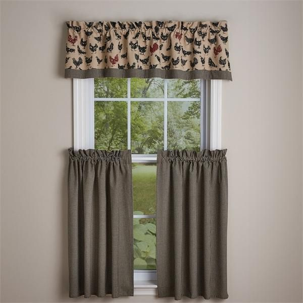 Hen Pecked Country Style Valance Curtains By Park Designs A Clic Tan With Hens 100 Cotton Fabric Has 1 2 Header And