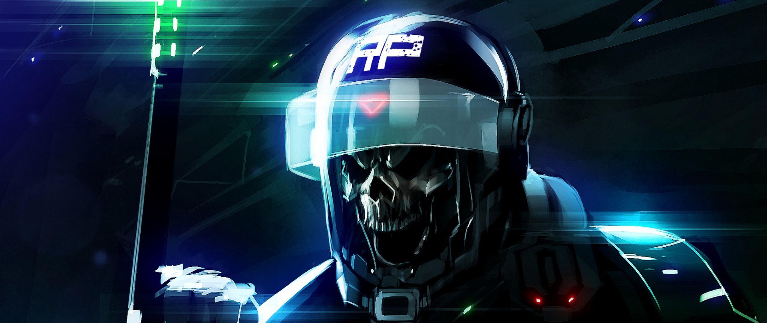 Download Wallpaper 2560x1080 Riot Helmet Skeleton Dead 219 TV HD