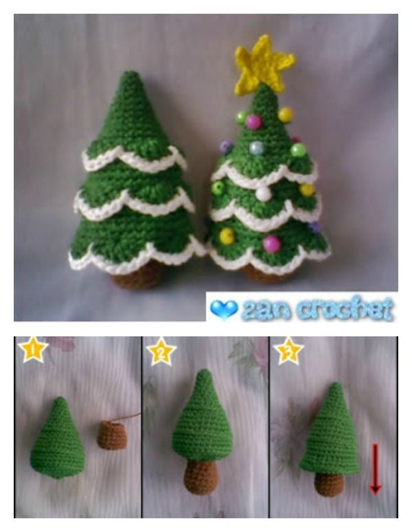 6 Diy Crocheted Christmas Tree With Free Pattern Christmas Crochet Patterns Crochet Christmas Decorations Christmas Crochet
