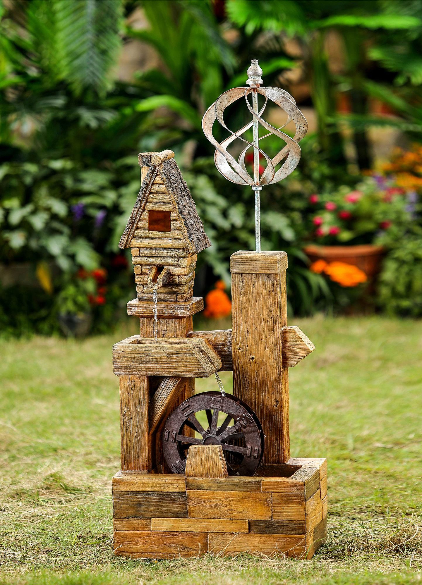 Polyresin and Fiberglass Wood Look Birdhouse with Wind Spinner Water ...