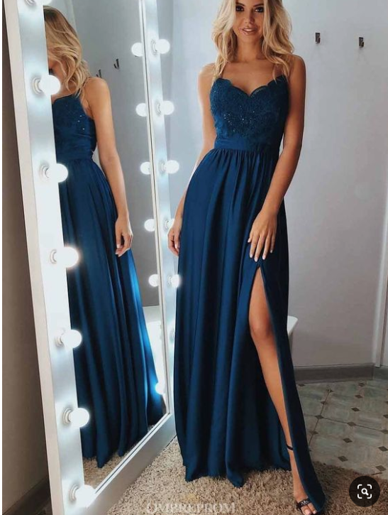 A Line Lace Appliques Blue Spaghetti Long Prom Dresses with Slit