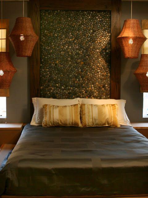 Cabecero de piedras en dormitorio estilo zen dormitorios for Decoracion zen dormitorio