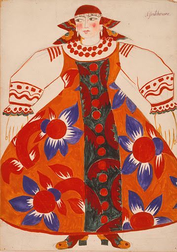 Costume design by Natalia Gontcharova for Le coq d'or, 1914