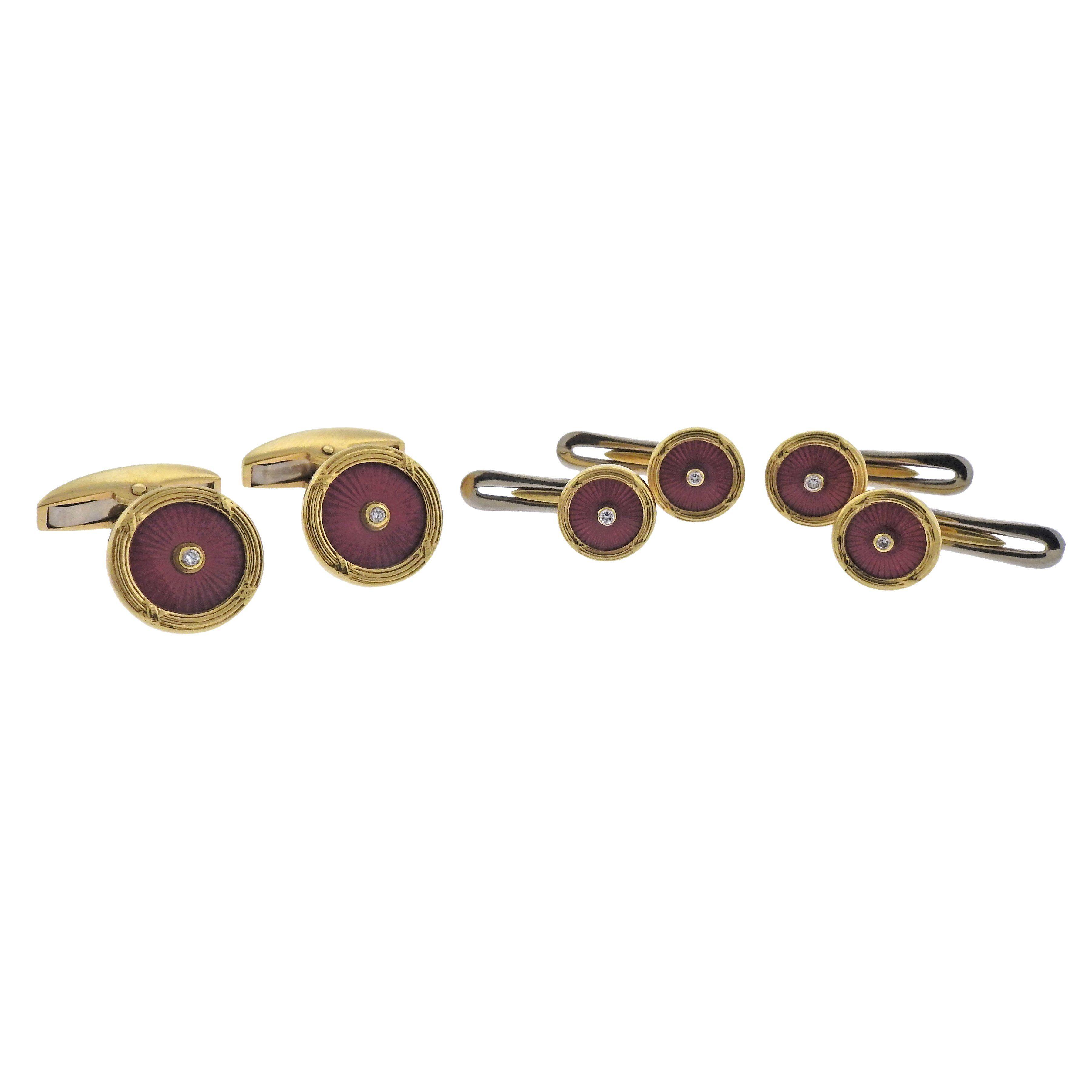 Deakin & Francis Gold Enamel Diamond Cufflinks Studs Set