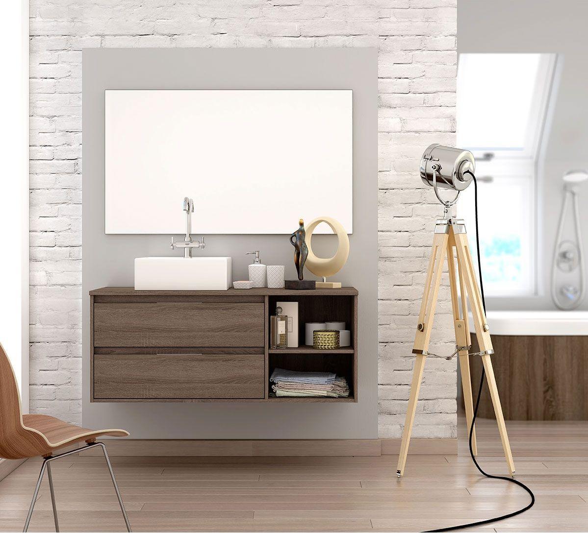 Conjunto Mueble De Ba O Mural 120cm 2 Cajones 2 Estantes  # Neat Muebles Merida