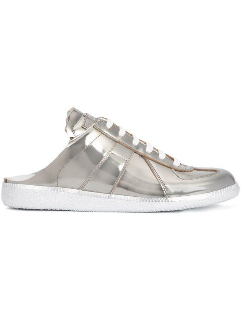 MAISON MARTIN MARGIELA mirrored slide sneakers. #maisonmartinmargiela #shoes #sneakers