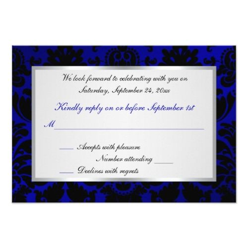 Cobalt Blue And Black Damask Reply Card. Gothic Wedding InvitationsDamask  ...