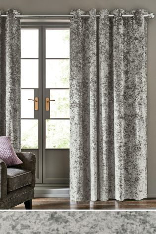 Grey Crushed Velvet Eyelet Curtains Velvet Bedroom
