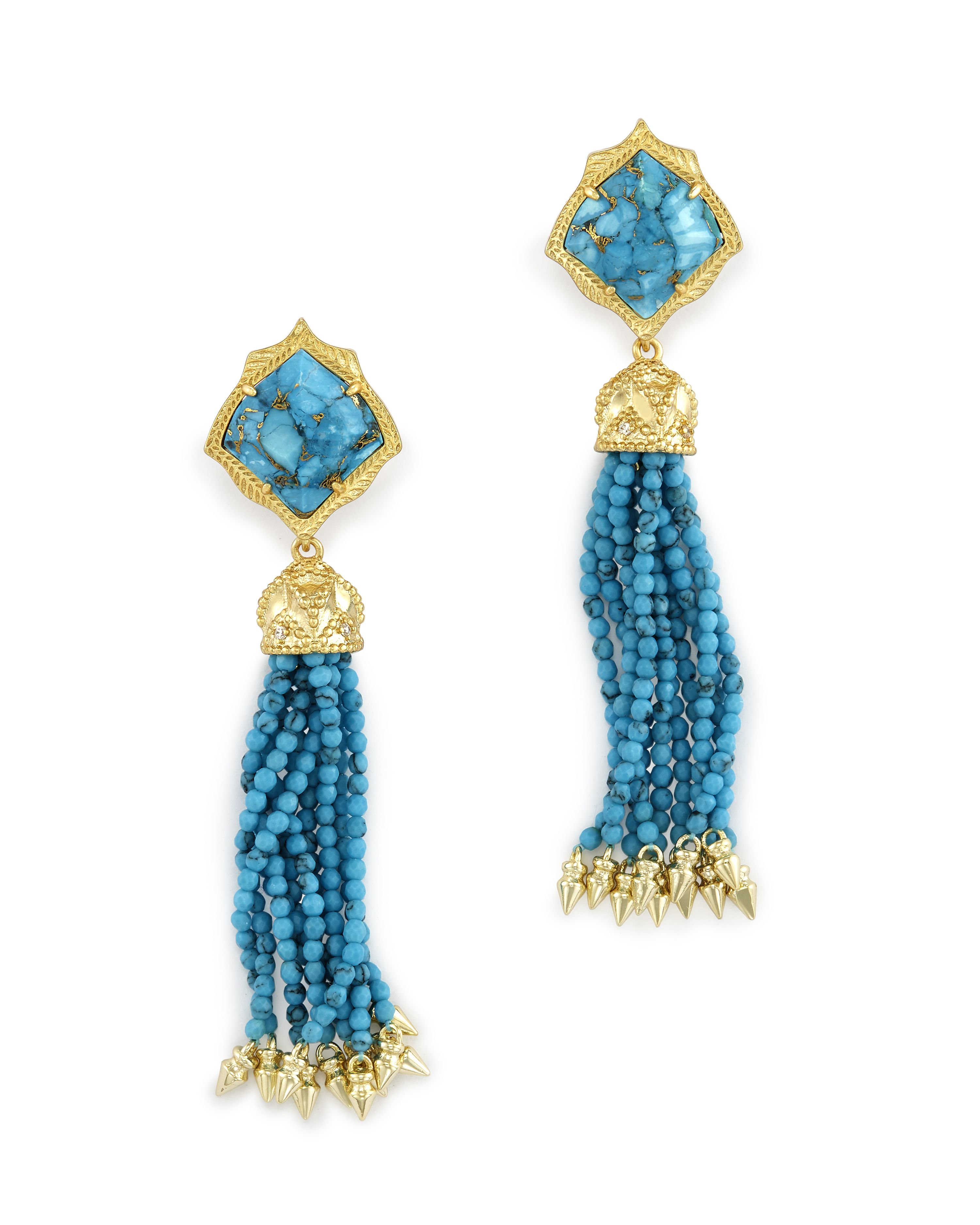 Misha Statement Earrings in Bronze Veined Turquoise ...