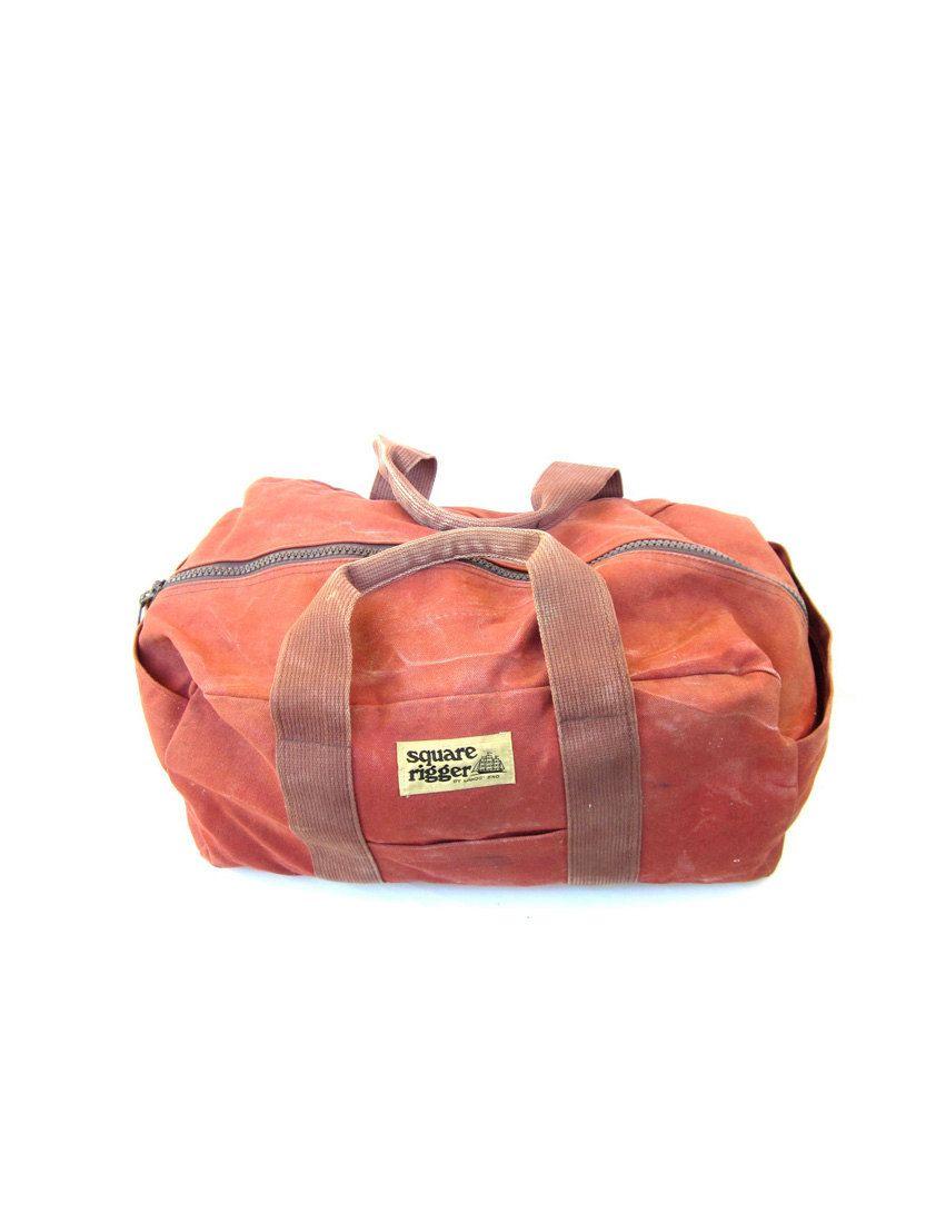 Vintage Ll Bean Style Canvas Duffle Bag Lands End - Medium Crafty