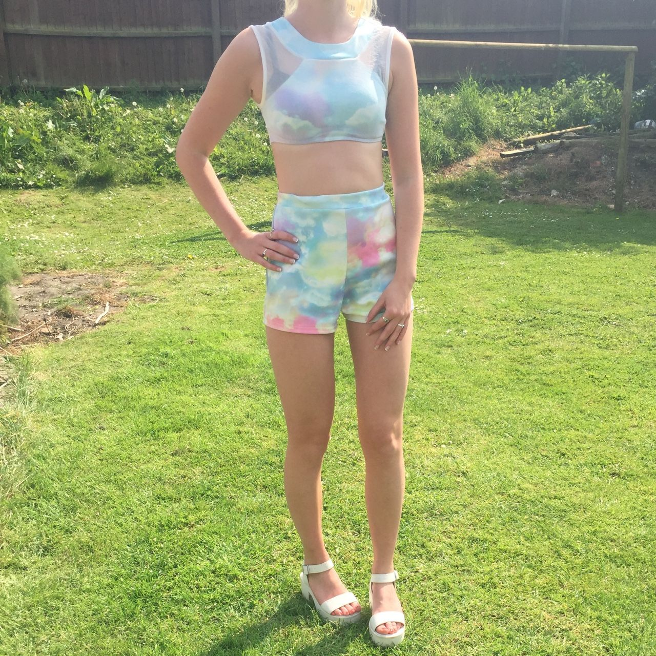 Unicorn/ pastel multicoloured cloud two piece. A wicked festival outfit or pair with strappy white sandals for evening wear.