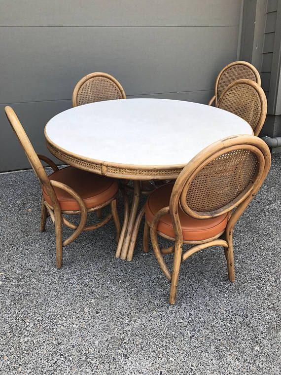 Vintage Mid Century 1970s Bamboo And Rattan Dining Table And 5 Rattan Dining Table Dining Chairs Dining Table