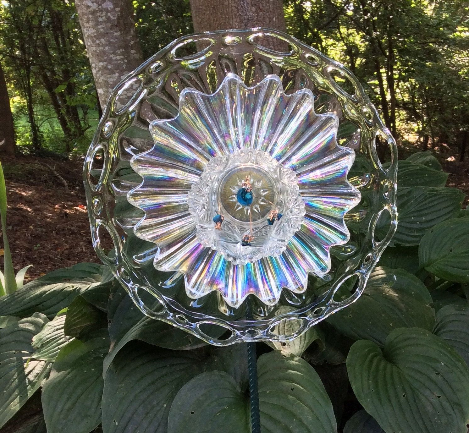 Glass yard art  Glass Flower Ripple and Shine Garden Art Vintage dishes Up