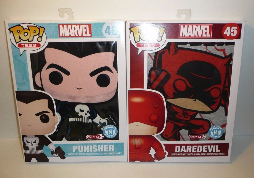 MEDIUM Funko Pop Tees Lot - Marvel Punisher Daredevil Short Sleeved T-Shirts M