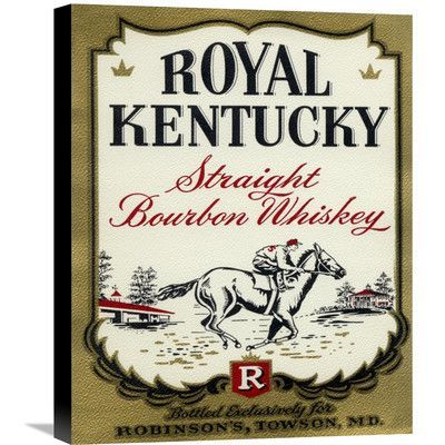 "Global Gallery 'Royal Kentucky Straight Bourbon Whiskey' Vintage Advertisement on Wrapped Canvas Size: 22"" H x 17.6"" W x 1.5"" D"