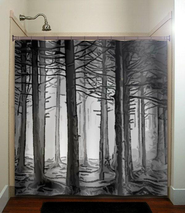 Gray Woodland Forest Trees Shower Curtains Extra Long Fabric Etsy Tree Shower Curtains Black Shower Curtains Black Shower Curtain Bathroom