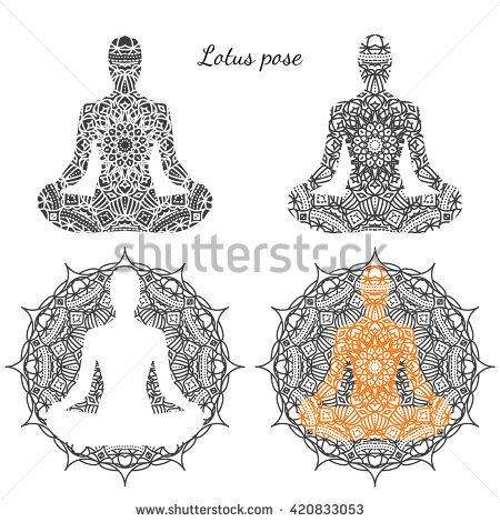 set of lotus poses with ornament relax and meditation