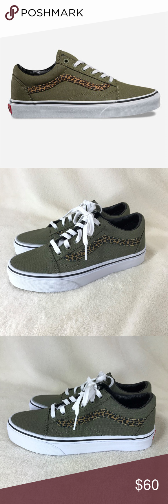 fdb483107365 Vans Old Skool Mini Leopard Skate Shoes Vans Women's Mini Old Skool skate  shoe. Olive green with leopard side stripe. Textile canvas uppers with  padded ...