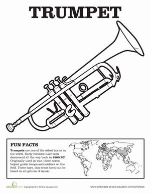 Trumpet Coloring Page Music Class