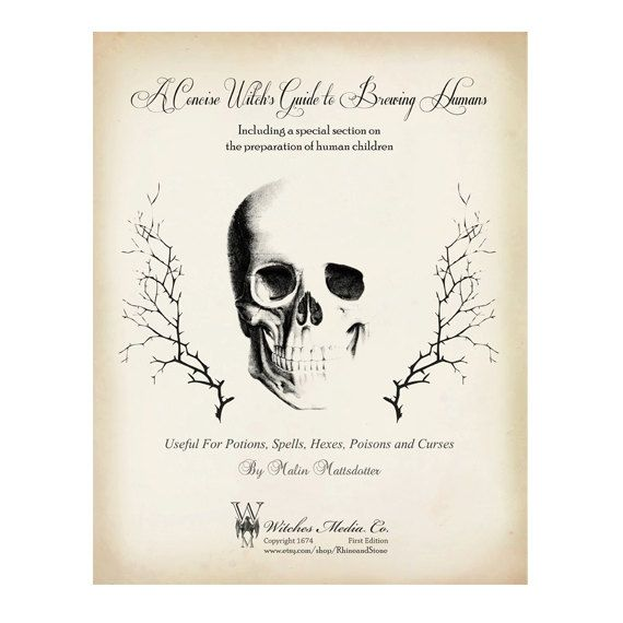 A Witch's Guide to Brewing Humans, A Halloween FREE Digital Download: Frontispiece 8x10, specimens, skull, vintage-look, decoupage on Etsy, $0.20