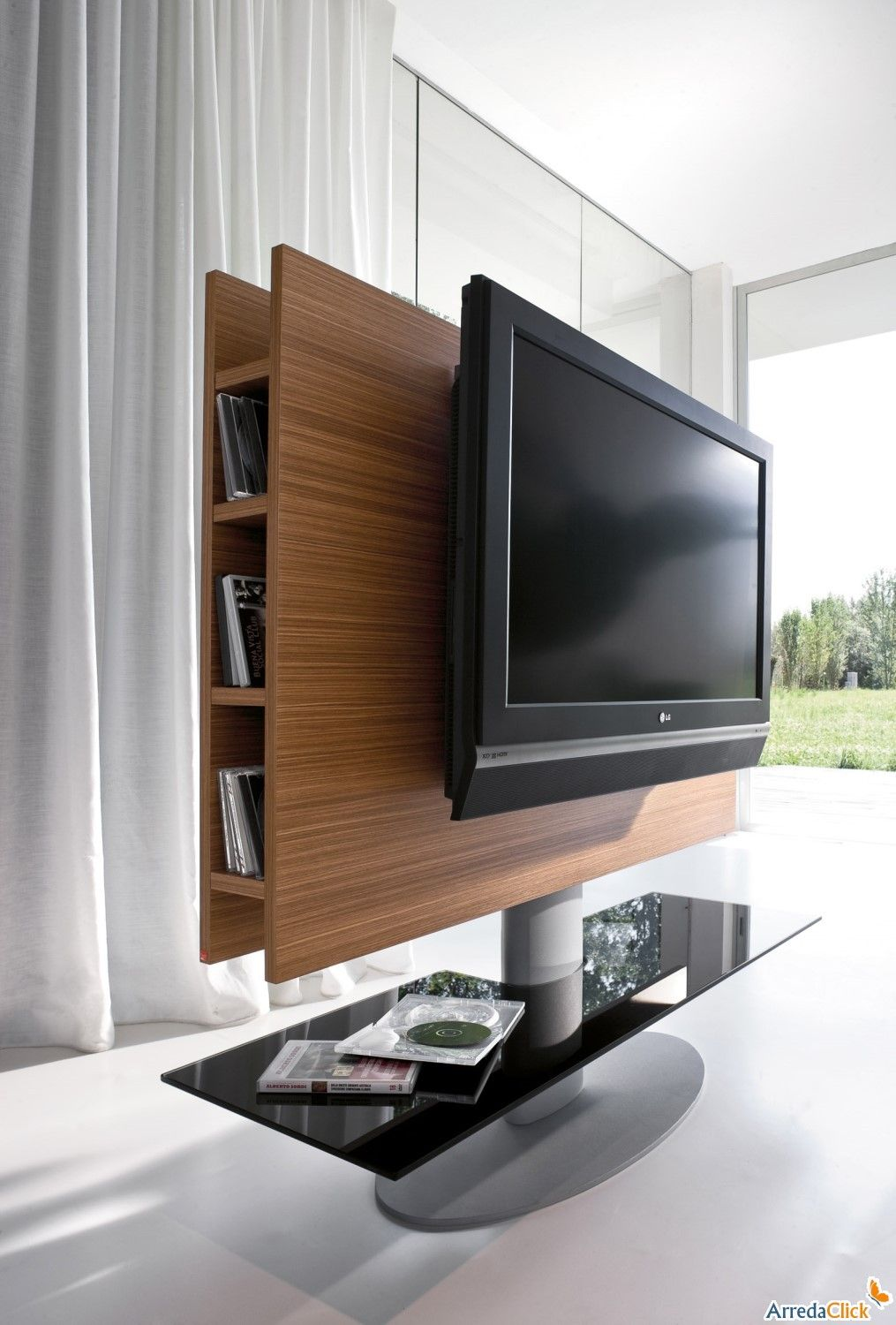 cortes schwenkbares tv st nder mit paneel aus holz. Black Bedroom Furniture Sets. Home Design Ideas