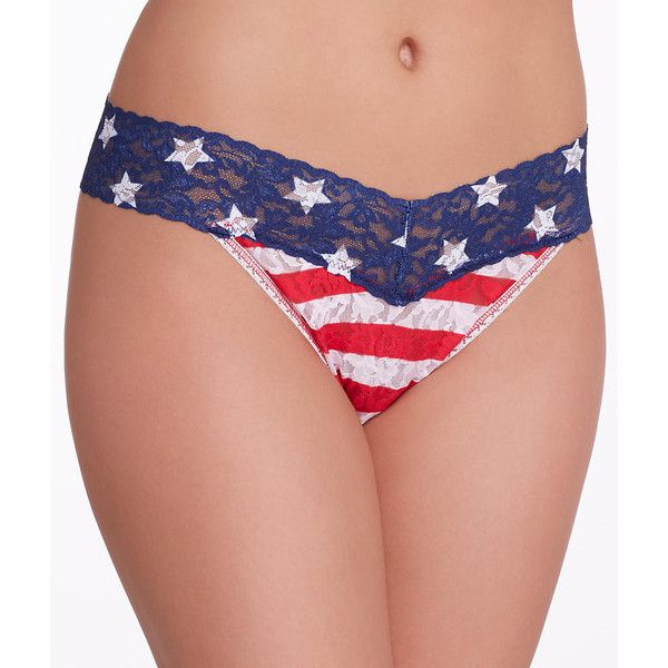 Hanky Panky Stars and Stripes Original Rise Thong ($24) ❤ liked on Polyvore featuring intimates, panties, panty, thong, women, striped thong, thong panties, striped panties, lace thong panties and thong panty