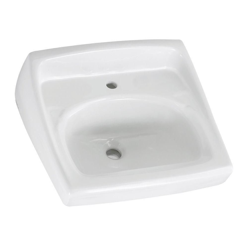 American Standard Lucerne Wall Hung Bathroom Sink in White with Less ...