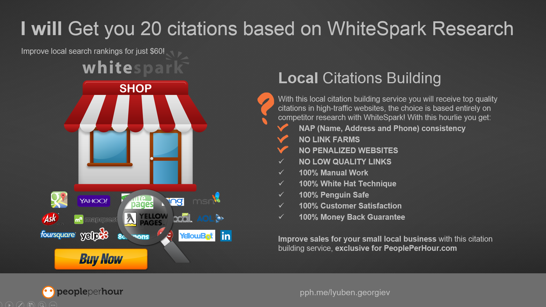 Get you 20 Local Citations and Boost Local SEO Traffic for just $45 order now at http://bit.ly/localcitations