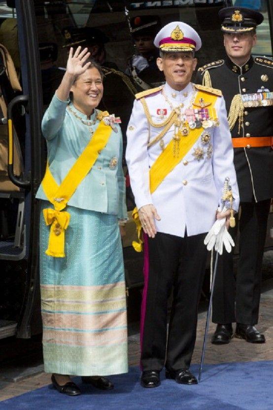 Crown Prince Maha Vajiralongkorn of Thailand and his sister Princess Maha Chakri Sirindhorn of Thailand arrive at the Nieuwe Kerk in Amsterdam for the inauguration ceremony of King Willem Alexander