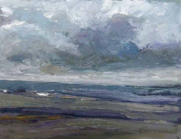 Farm Building, Storm Coming. Oil on board. near High and Over, south of Alfriston, East Sussex