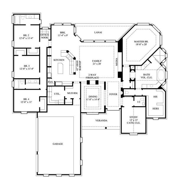 Country house plans home design gmlc 367 8502 tons of for Layout design of bungalows