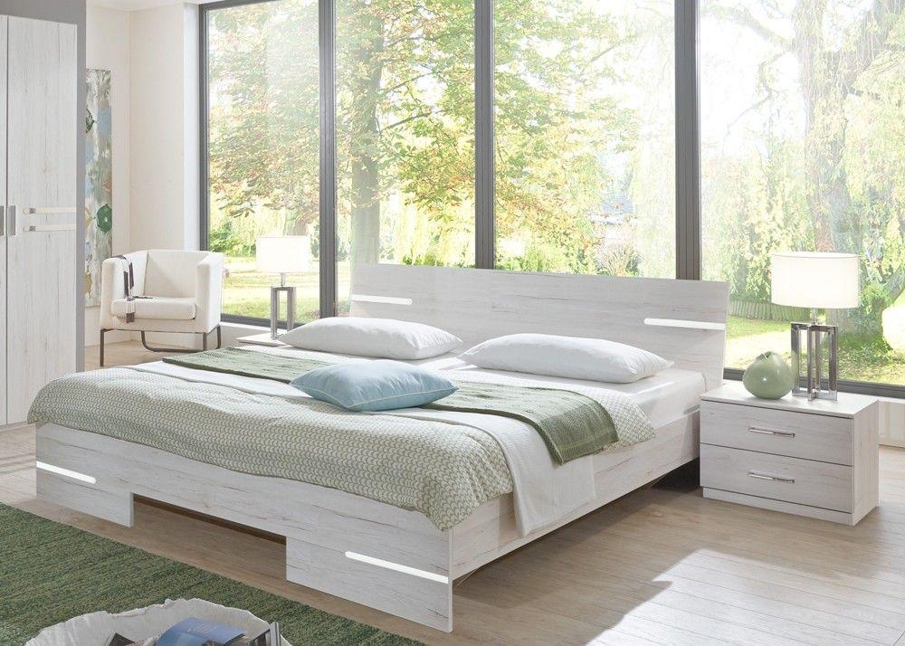 Futonbett Anna mit Nachtkommoden Bettanalage Weißeiche 10297 Buy - schlafzimmer mit eckschrank