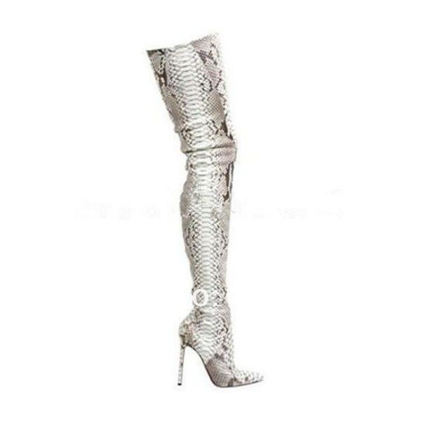 buy online f0a25 557cb Red Bottom Genuine Leather Pointed Toe Python Over The Knee ...