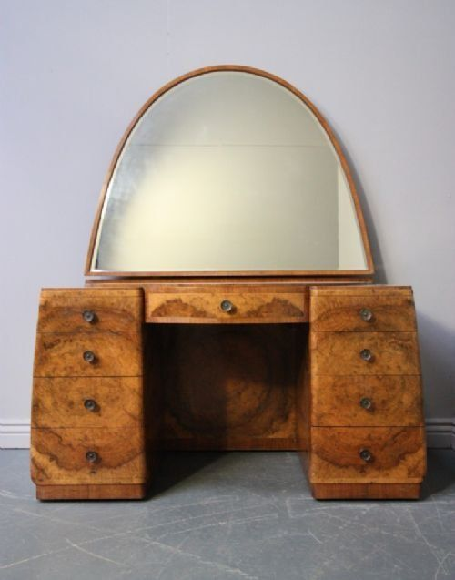 Art Deco Dressing Table, English, Burl Walnut/mahogany/ Chromed Brass Ware,  Ca.1920