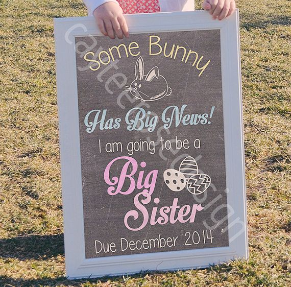 $10.00 EASTER BIG BROTHER / BIG SISTER CHALKBOARD ANNOUNCEMENT ...