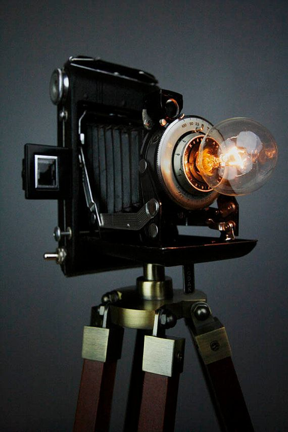 Handmade Vintage Camera Lamp By Retrobender On Etsy 275 00 Camera Lamp Steampunk Lighting Steampunk Lamp