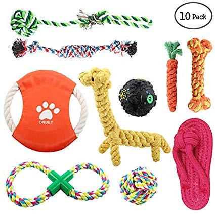 onbet 10pcs Puppy Chew Toys Dog Teething Training, Cotton