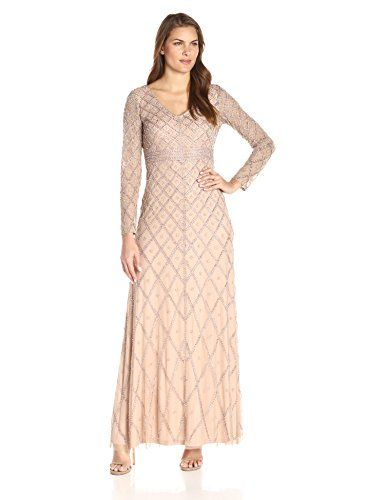 59431ce5f35 New Adrianna Papell Women s Long Sleeve V-Neck Beaded Gown online.    290.55  alltrendytop offers on top store
