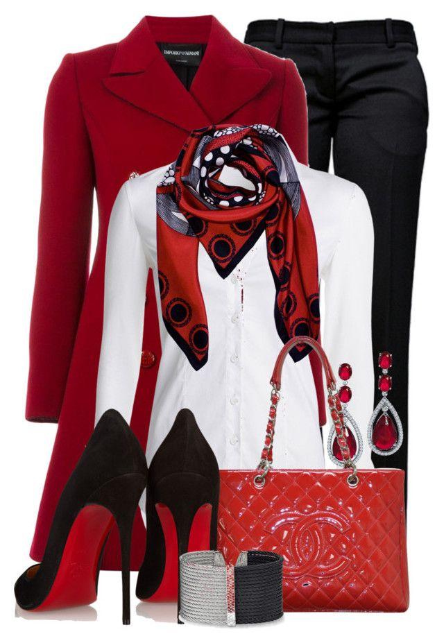 """Red, White, & Black"" by jennifernoriega ❤ liked on Polyvore featuring Mode, Balmain, Emporio Armani, NIC+ZOE, Bling Jewelry, Chanel, Christian Louboutin und Alor"