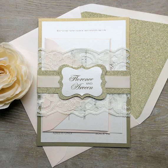 florence blush and gold lace wedding invitation ivory lace wrap