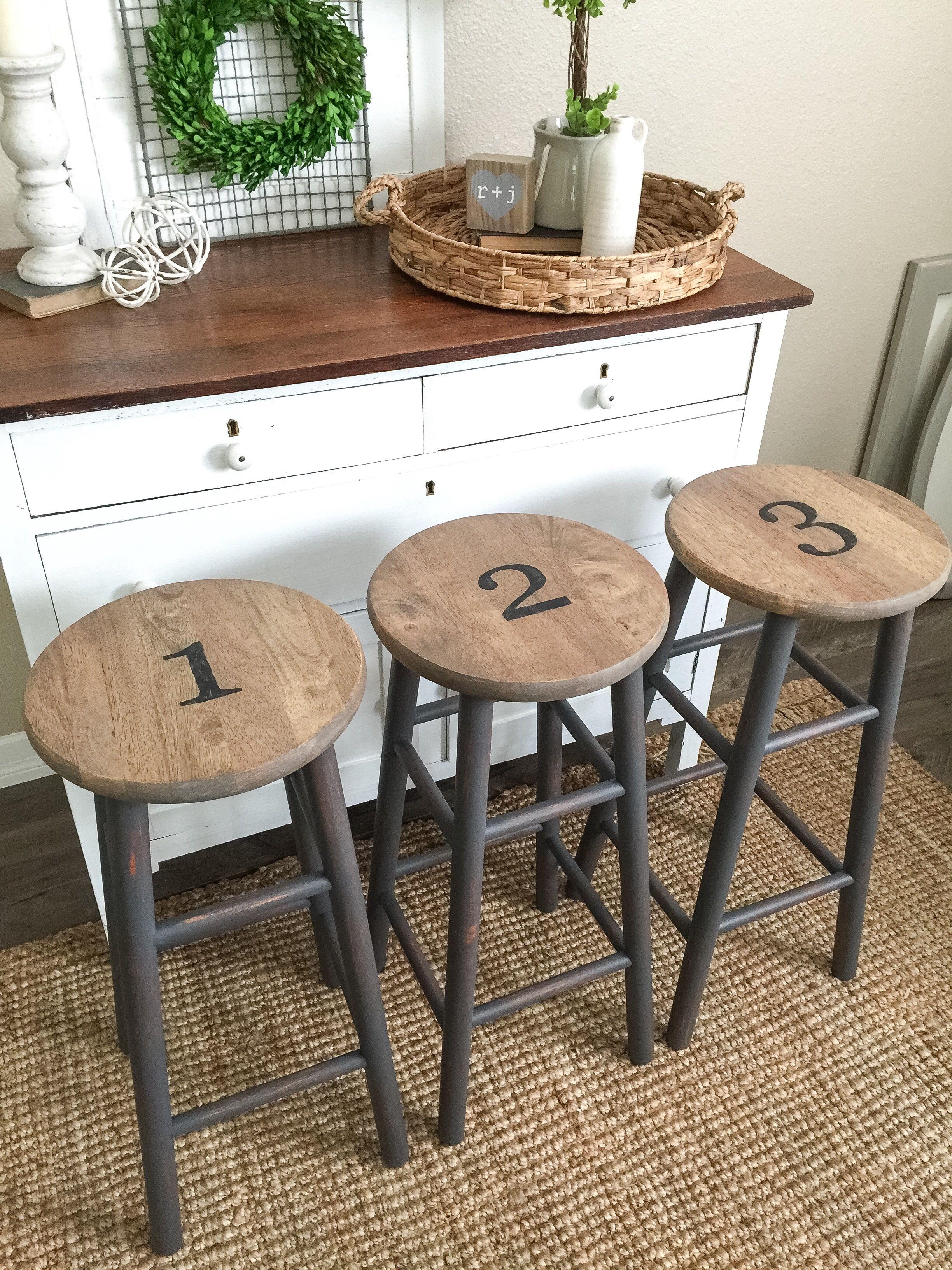 Dark Gray Numbered Stools Farmhouse style bar stools