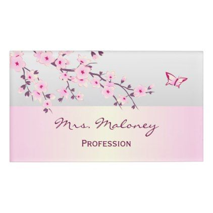 Floral Cherry Blossoms Gray Pink Name Tag Zazzle Com In 2021 Pink Names Name Tags Cherry Blossom Nails