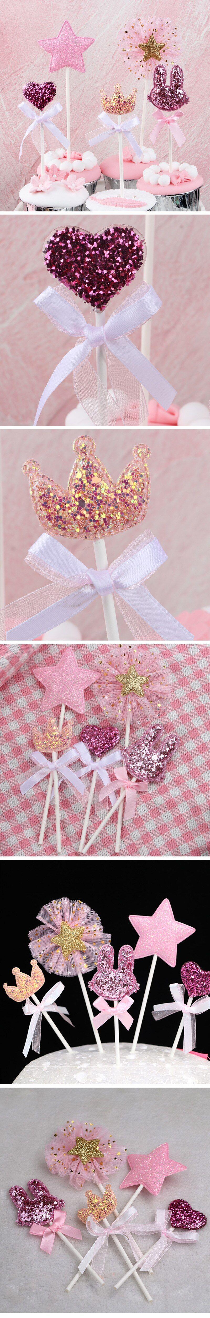 5 unids/lote Estrella Rosa corona de corazón, decoración de pastel de cumpleaños, decoración de cupcake, fiesta de bienvenida para el futuro bebé niños, suministros para fiestas de cumpleaños, recuerdos de boda
