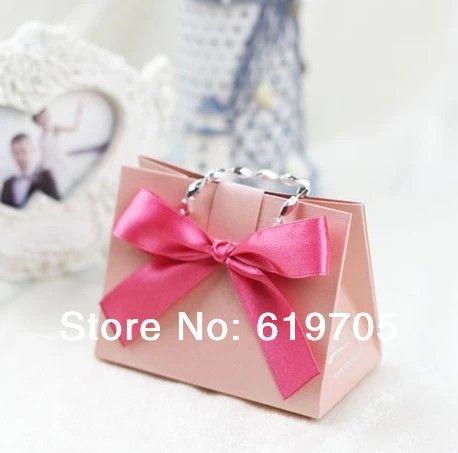 FREE SHIPPING 100pcs Lot Red Pink Gold Beige Elegant Candy Bag Favors Box Wedding Favor