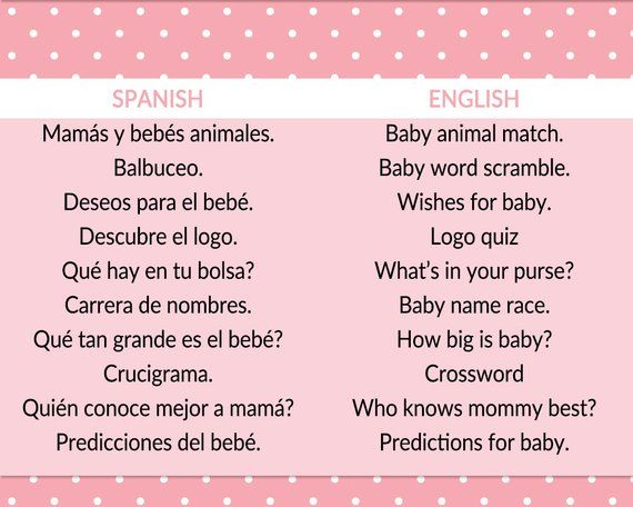 Baby Shower Games In Spanish And English Baby Girl