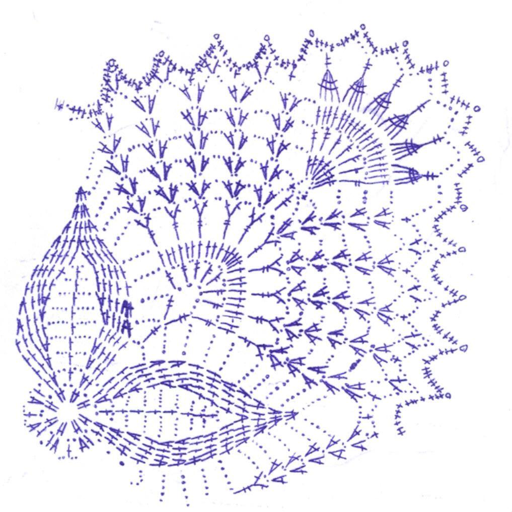 схема как вязать салфетку крючком