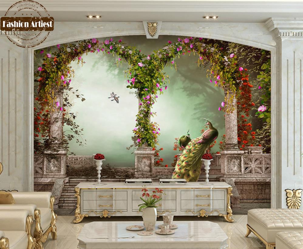 Custom 3d vintage wallpaper mural Roman pillar arch garden peacock floral  scenery tv sofa bedroom living